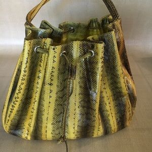 Handbags - Yellow Faux Snakeskin Drawstring Bag